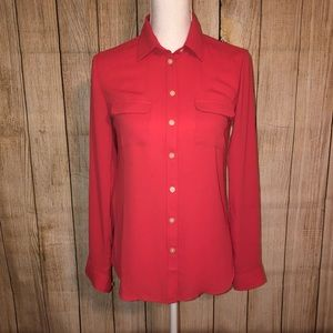 LOFT Like New Coral/Pink Button Down Blouse